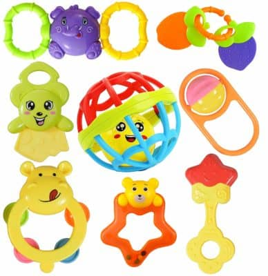 WISHKEY 7 Rattles and 1 Teether Toy
